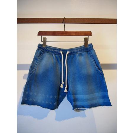 M エム / used wash indigo sweat shorts Indigo light